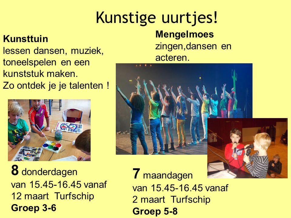 Kunsttuin lessen dansen, muziek, toneelspelen en een kunststuk maken. Zo ontdek je je talenten ! 8 donderdagen van 15.45-16.45 vanaf 12 maart Turfschi