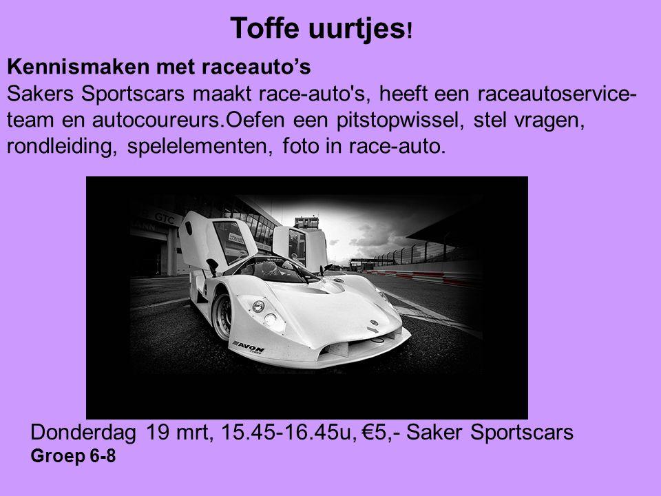 Toffe uurtjes ! Kennismaken met raceauto's Sakers Sportscars maakt race-auto's, heeft een raceautoservice- team en autocoureurs.Oefen een pitstopwisse