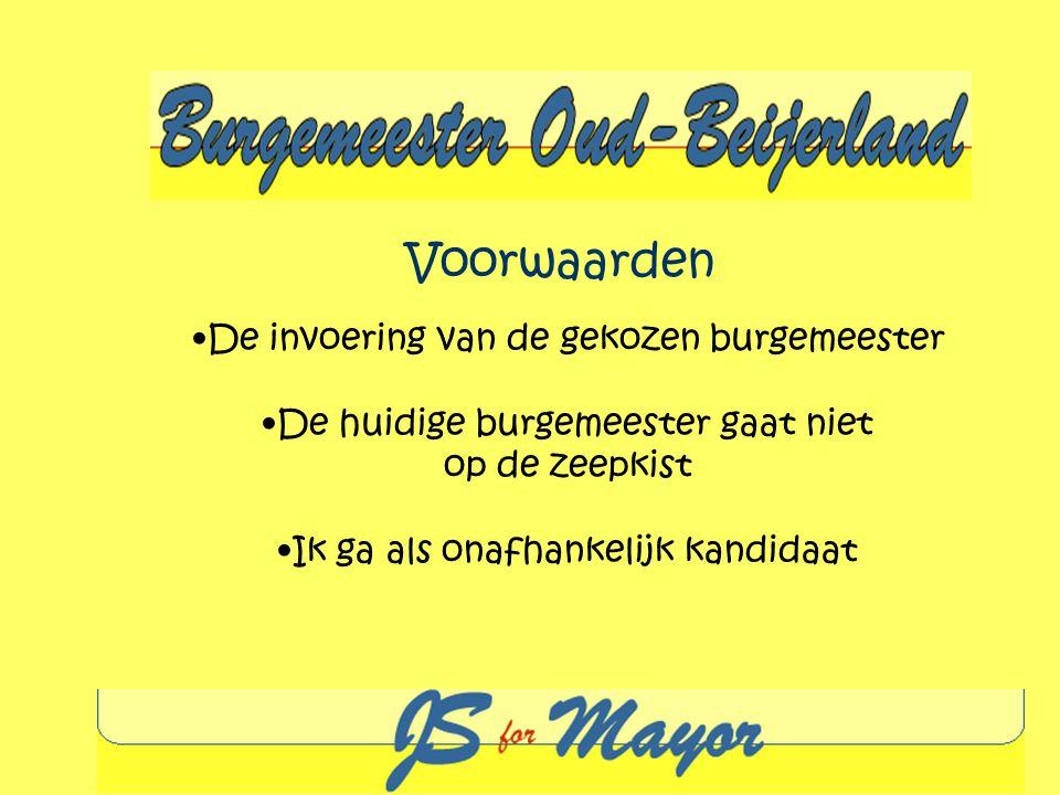 Voorwaarden De invoering van de gekozen burgemeester De huidige burgemeester gaat niet op de zeepkist Ik ga als onafhankelijk kandidaat