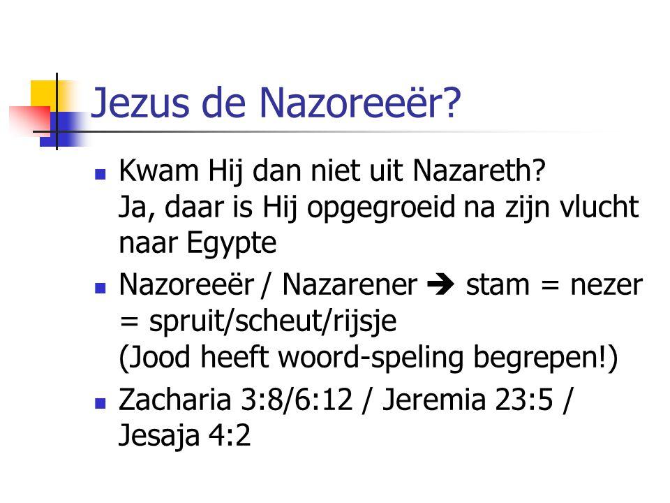 Jezus de Nazoreeër? Kwam Hij dan niet uit Nazareth? Ja, daar is Hij opgegroeid na zijn vlucht naar Egypte Nazoreeër / Nazarener  stam = nezer = sprui