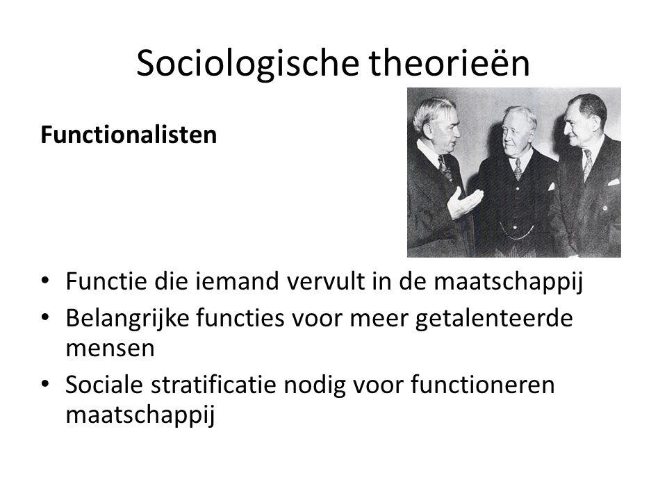 Sociologische theorieën Functionalisten Functie die iemand vervult in de maatschappij Belangrijke functies voor meer getalenteerde mensen Sociale stratificatie nodig voor functioneren maatschappij