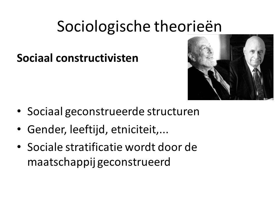 Sociologische theorieën Sociaal constructivisten Sociaal geconstrueerde structuren Gender, leeftijd, etniciteit,...