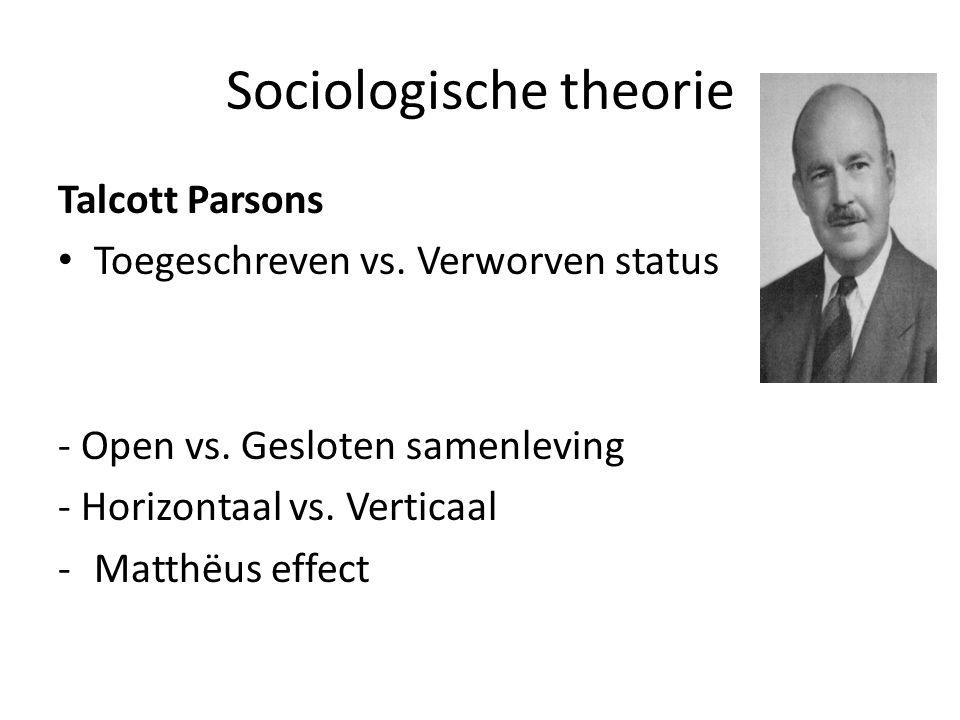 Sociologische theorie Talcott Parsons Toegeschreven vs.