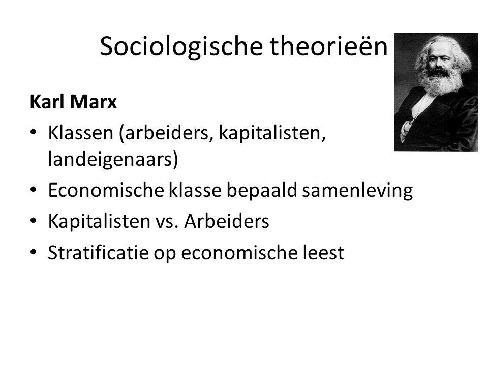Sociologische theorieën Karl Marx Klassen (arbeiders, kapitalisten, landeigenaars) Economische klasse bepaald samenleving Kapitalisten vs.