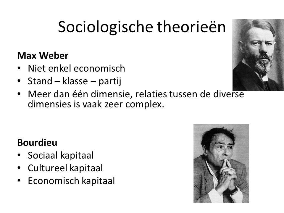 Sociologische theorieën Max Weber Niet enkel economisch Stand – klasse – partij Meer dan één dimensie, relaties tussen de diverse dimensies is vaak zeer complex.