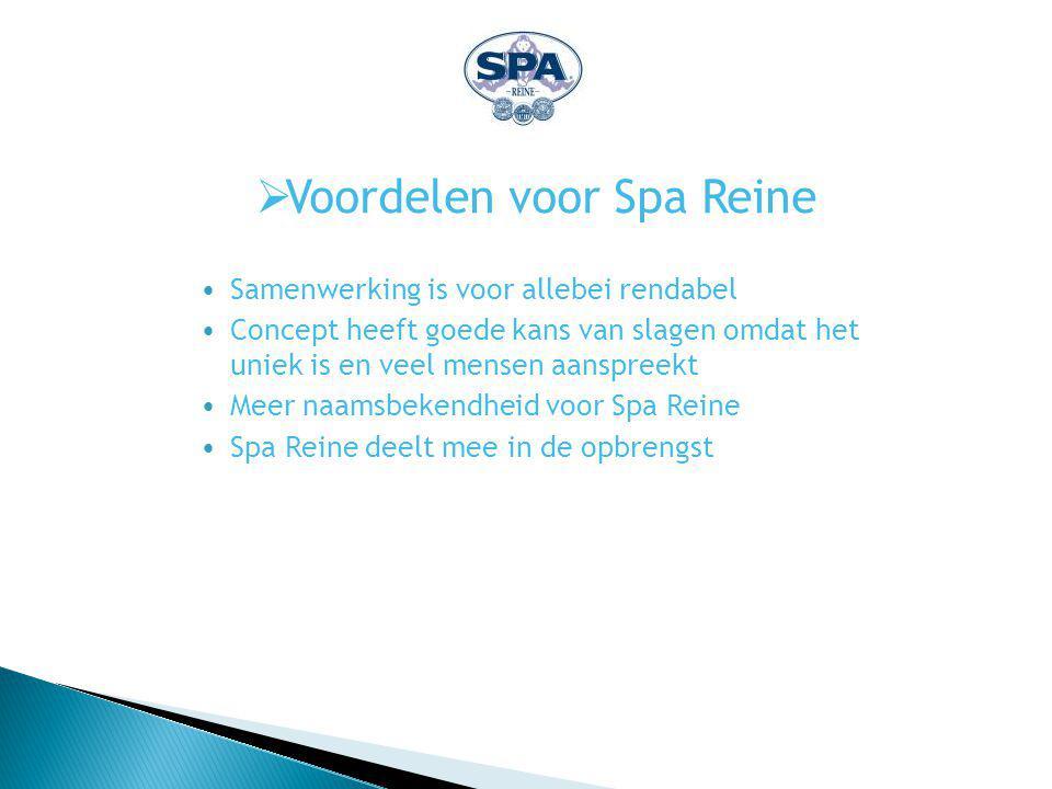  Voordelen voor Spa Reine Samenwerking is voor allebei rendabel Concept heeft goede kans van slagen omdat het uniek is en veel mensen aanspreekt Meer naamsbekendheid voor Spa Reine Spa Reine deelt mee in de opbrengst