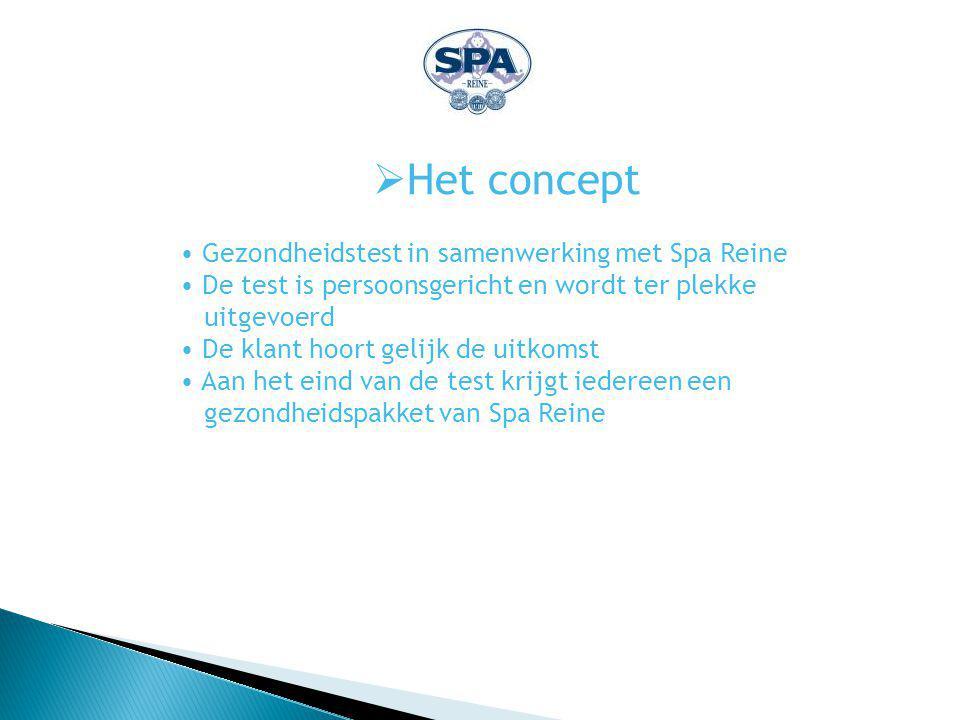  Het concept Gezondheidstest in samenwerking met Spa Reine De test is persoonsgericht en wordt ter plekke uitgevoerd De klant hoort gelijk de uitkomst Aan het eind van de test krijgt iedereen een gezondheidspakket van Spa Reine
