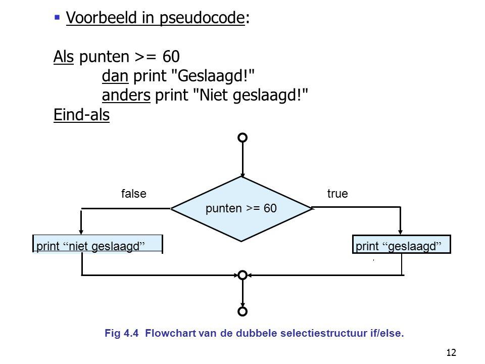 """12 punten >= 60 true print """" niet geslaagd """" false print """" geslaagd """" Fig 4.4 Flowchart van de dubbele selectiestructuur if/else.  Voorbeeld in pseud"""