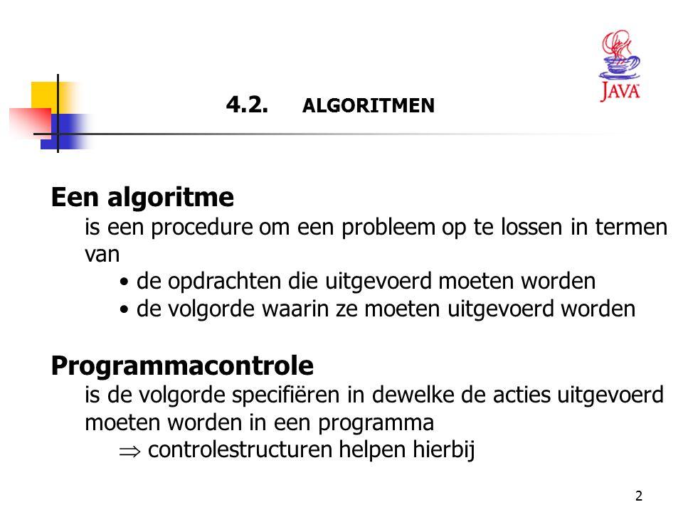 2 4.2. ALGORITMEN Een algoritme is een procedure om een probleem op te lossen in termen van de opdrachten die uitgevoerd moeten worden de volgorde waa