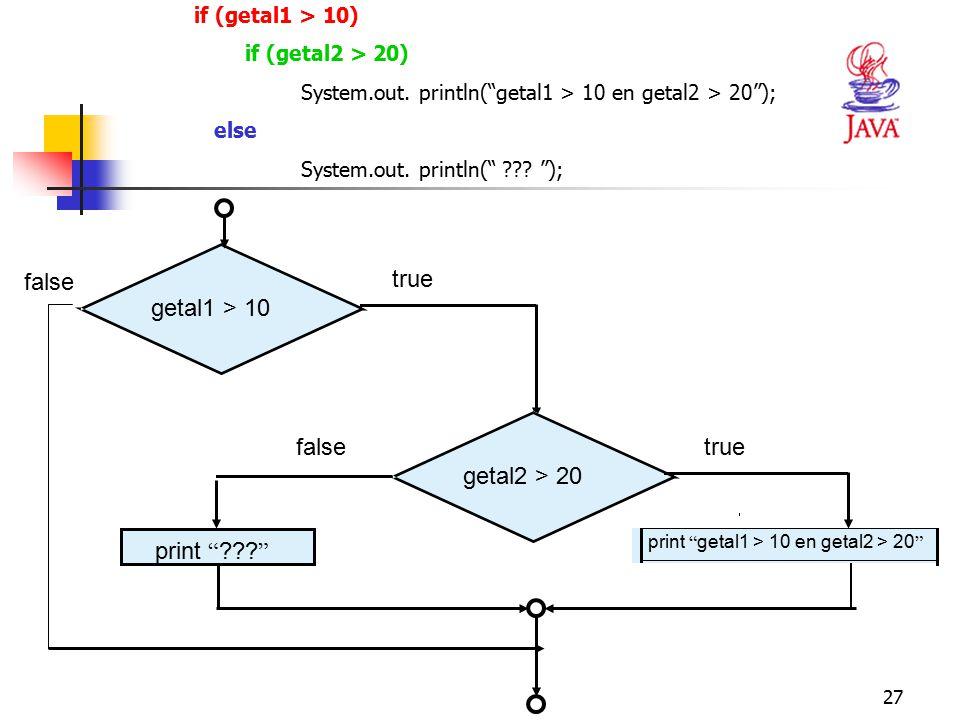 "27 if (getal1 > 10) if (getal2 > 20) System.out. println(""getal1 > 10 en getal2 > 20""); else System.out. println("" ??? ""); getal1 > 10 true getal2 > 2"