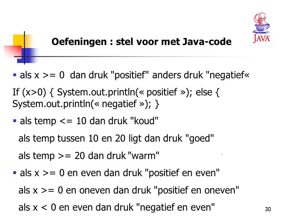30 Oefeningen : stel voor met Java-code  als x >= 0 dan druk
