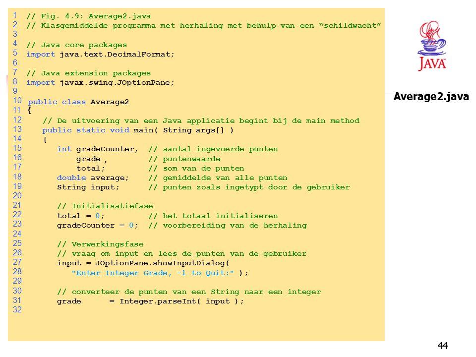 """44 1 // Fig. 4.9: Average2.java 2 // Klasgemiddelde programma met herhaling met behulp van een """"schildwacht"""" 3 4 // Java core packages 5 importjava.te"""