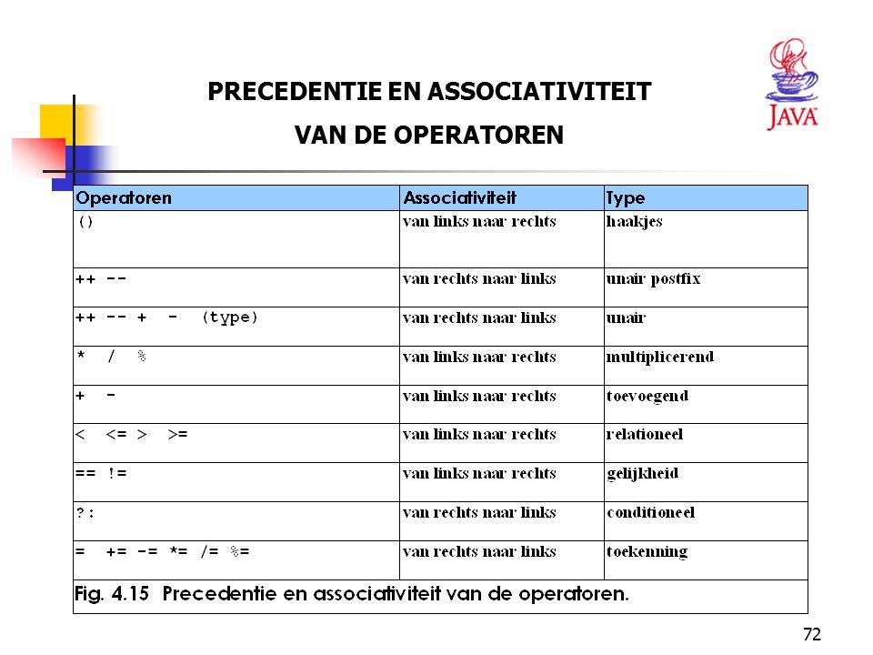 72 PRECEDENTIE EN ASSOCIATIVITEIT VAN DE OPERATOREN