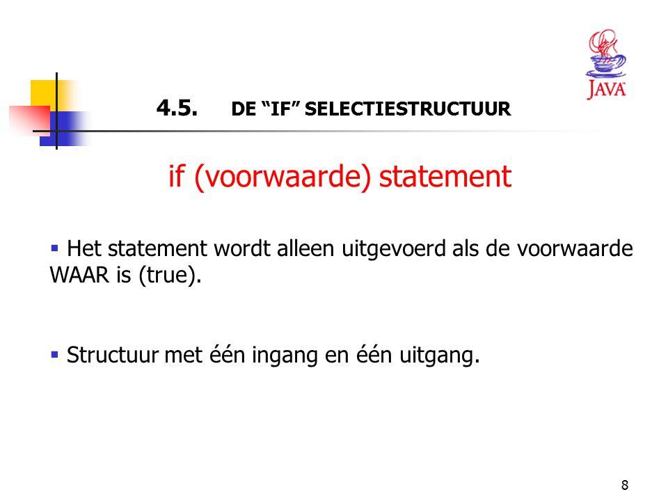 """8 4.5. DE """"IF"""" SELECTIESTRUCTUUR  Het statement wordt alleen uitgevoerd als de voorwaarde WAAR is (true).  Structuur met één ingang en één uitgang."""