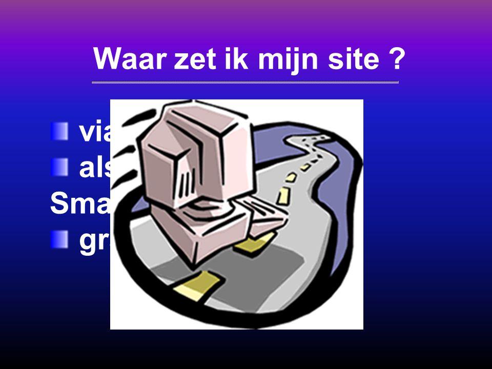 Klascement 20 Mb Persoonlijke login met wachtwoord 20 MB webruimte 1 FTP-account FrontPage XP Extensies Dataverkeer: 1 GB/maand (33 MB per dag!) Geen backup!