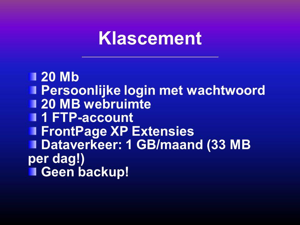 Klascement 20 Mb Persoonlijke login met wachtwoord 20 MB webruimte 1 FTP-account FrontPage XP Extensies Dataverkeer: 1 GB/maand (33 MB per dag!) Geen