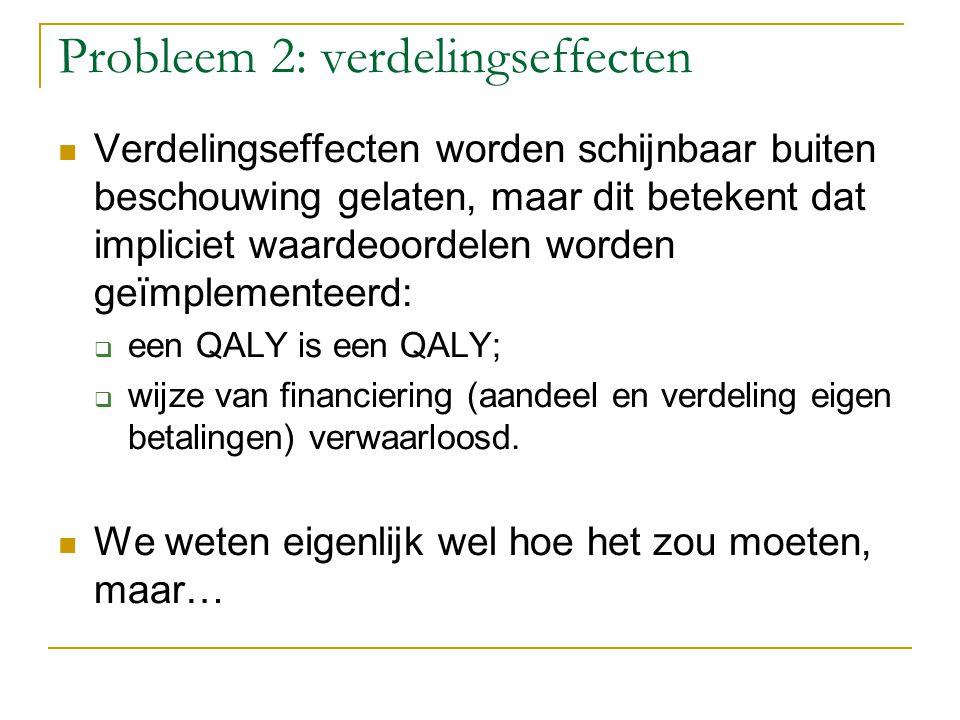 Probleem 2: verdelingseffecten Verdelingseffecten worden schijnbaar buiten beschouwing gelaten, maar dit betekent dat impliciet waardeoordelen worden