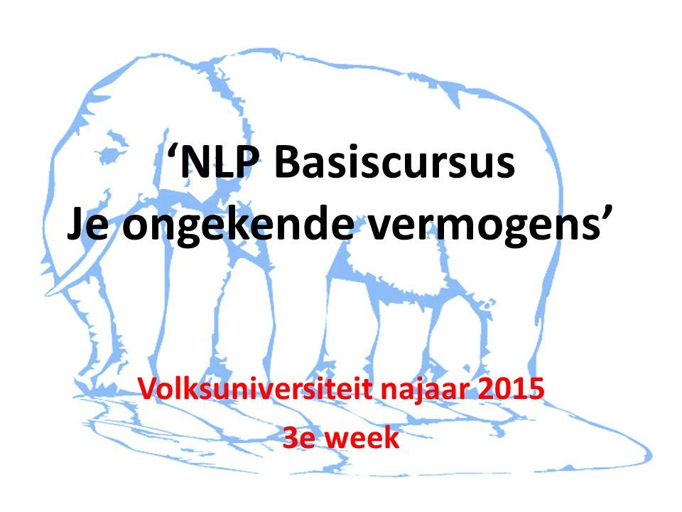 'NLP Basiscursus Je ongekende vermogens' Volksuniversiteit najaar 2015 3e week