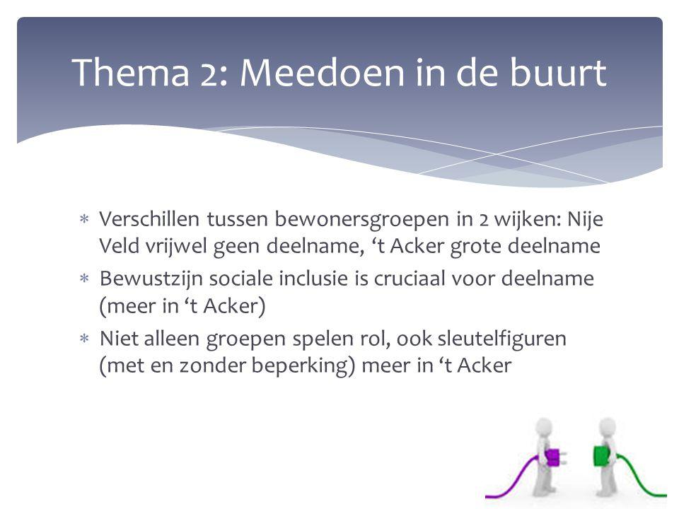  Verschillen tussen bewonersgroepen in 2 wijken: Nije Veld vrijwel geen deelname, 't Acker grote deelname  Bewustzijn sociale inclusie is cruciaal v