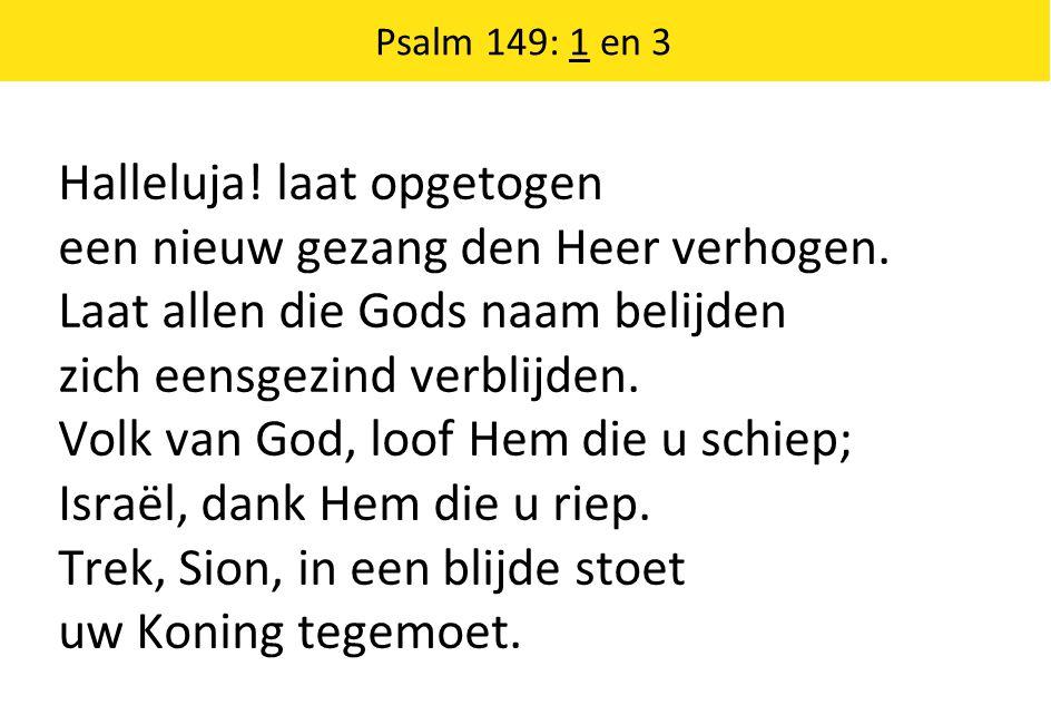 Halleluja! laat opgetogen een nieuw gezang den Heer verhogen. Laat allen die Gods naam belijden zich eensgezind verblijden. Volk van God, loof Hem die