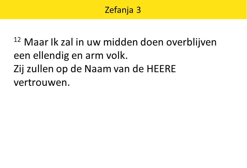 Zefanja 3 12 Maar Ik zal in uw midden doen overblijven een ellendig en arm volk. Zij zullen op de Naam van de HEERE vertrouwen.