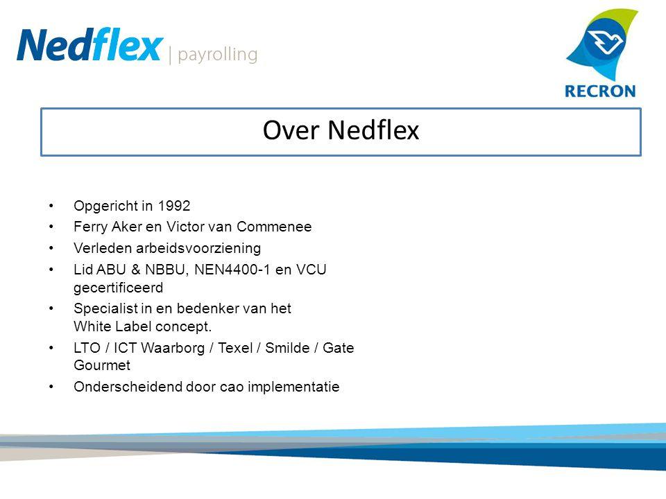 Over Nedflex Opgericht in 1992 Ferry Aker en Victor van Commenee Verleden arbeidsvoorziening Lid ABU & NBBU, NEN4400-1 en VCU gecertificeerd Specialis
