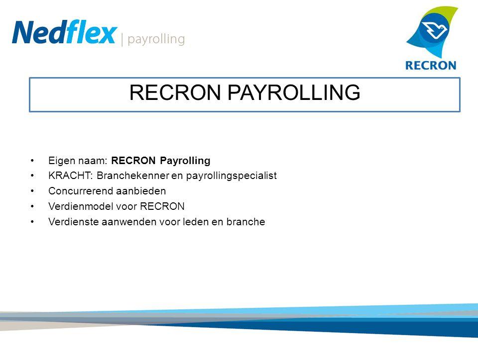Eigen naam: RECRON Payrolling KRACHT: Branchekenner en payrollingspecialist Concurrerend aanbieden Verdienmodel voor RECRON Verdienste aanwenden voor leden en branche RECRON PAYROLLING