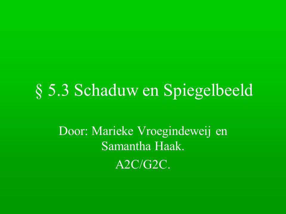 § 5.3 Schaduw en Spiegelbeeld Door: Marieke Vroegindeweij en Samantha Haak. A2C/G2C.