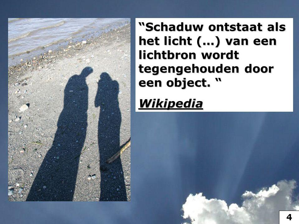 """""""Schaduw ontstaat als het licht (...) van een lichtbron wordt tegengehouden door een object. """" Wikipedia 4"""