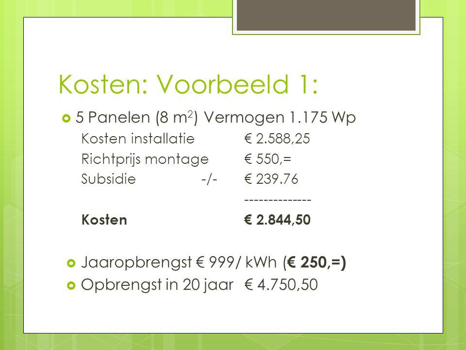 Kosten: Voorbeeld 1:  5 Panelen (8 m 2 ) Vermogen 1.175 Wp Kosten installatie € 2.588,25 Richtprijs montage € 550,= Subsidie -/- € 239.76 -------------- Kosten € 2.844,50  Jaaropbrengst € 999/ kWh ( € 250,=)  Opbrengst in 20 jaar € 4.750,50