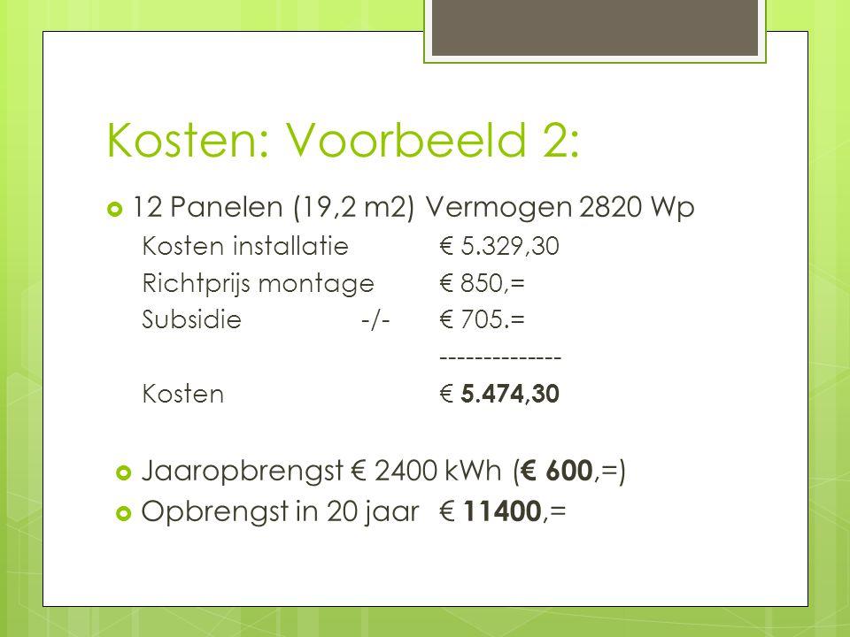 Kosten: Voorbeeld 2:  12 Panelen (19,2 m2) Vermogen 2820 Wp Kosten installatie € 5.329,30 Richtprijs montage € 850,= Subsidie -/- € 705.= -------------- Kosten € 5.474,30  Jaaropbrengst € 2400 kWh ( € 600,=)  Opbrengst in 20 jaar € 11400,=