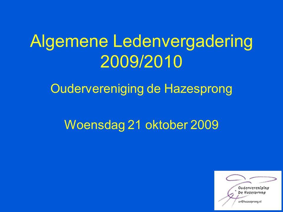 Algemene Ledenvergadering 2009/2010 Oudervereniging de Hazesprong Woensdag 21 oktober 2009