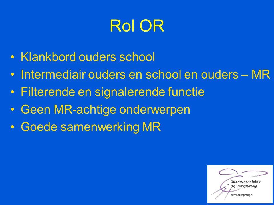 Rol OR Klankbord ouders school Intermediair ouders en school en ouders – MR Filterende en signalerende functie Geen MR-achtige onderwerpen Goede samen