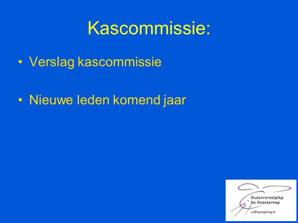 Kascommissie: Verslag kascommissie Nieuwe leden komend jaar