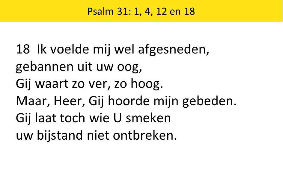 Psalm 31: 1, 4, 12 en 18 18 Ik voelde mij wel afgesneden, gebannen uit uw oog, Gij waart zo ver, zo hoog.