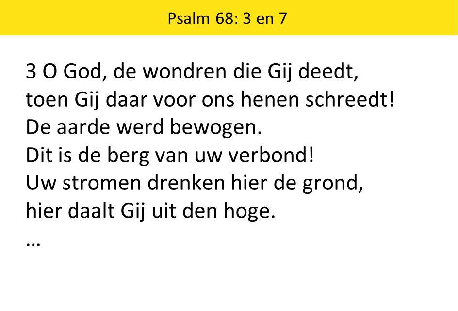 Psalm 68: 3 en 7 3 O God, de wondren die Gij deedt, toen Gij daar voor ons henen schreedt! De aarde werd bewogen. Dit is de berg van uw verbond! Uw st