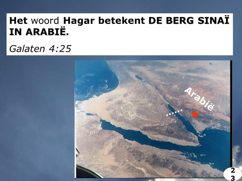 DE BERG SINAÏ IN ARABIË Het woord Hagar betekent DE BERG SINAÏ IN ARABIË. Galaten 4:25 Arabië 2323