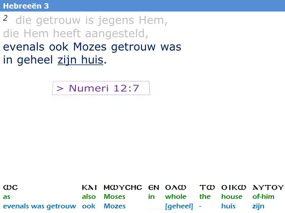7 7 Alzo is Mijn knecht Mozes niet, die in Mijn ganse huis getrouw is.
