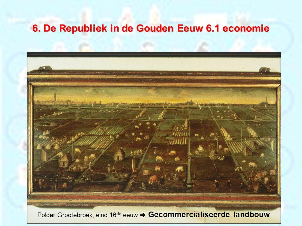6. De Republiek in de Gouden Eeuw 6.1 economie Polder Grootebroek, eind 16 de eeuw  Gecommercialiseerde landbouw