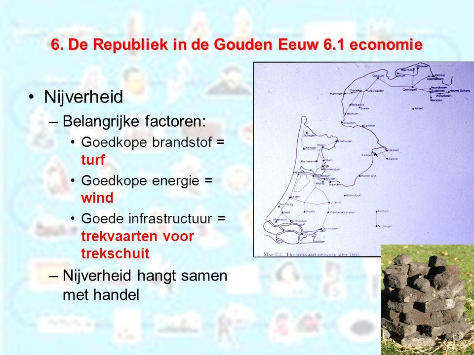6. De Republiek in de Gouden Eeuw 6.1 economie Nijverheid –Belangrijke factoren: Goedkope brandstof = turf Goedkope energie = wind Goede infrastructuu