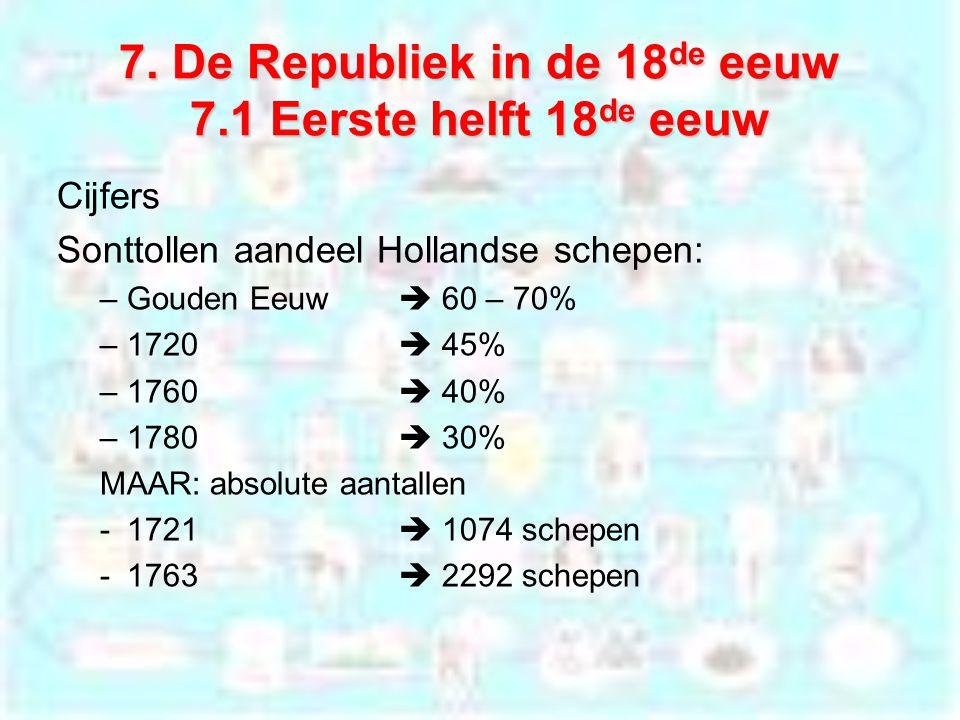 7. De Republiek in de 18 de eeuw 7.1 Eerste helft 18 de eeuw Cijfers Sonttollen aandeel Hollandse schepen: –Gouden Eeuw  60 – 70% –1720  45% –1760 