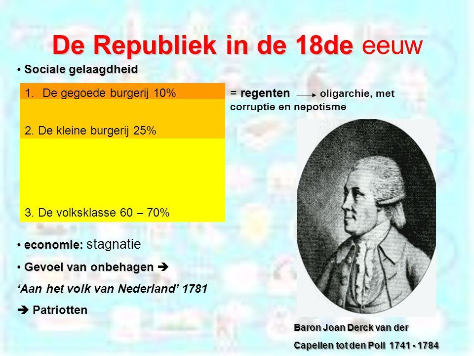 De Republiek in de 18de De Republiek in de 18de eeuw 1.De gegoede burgerij 10% 2.