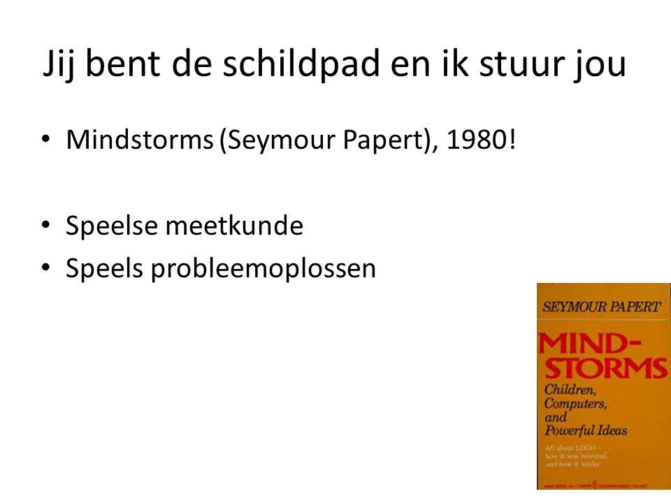 Jij bent de schildpad en ik stuur jou Mindstorms (Seymour Papert), 1980! Speelse meetkunde Speels probleemoplossen