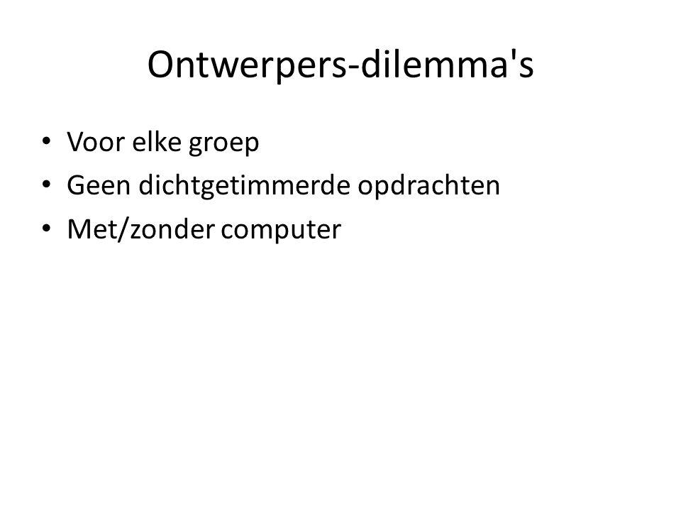 Ontwerpers-dilemma's Voor elke groep Geen dichtgetimmerde opdrachten Met/zonder computer