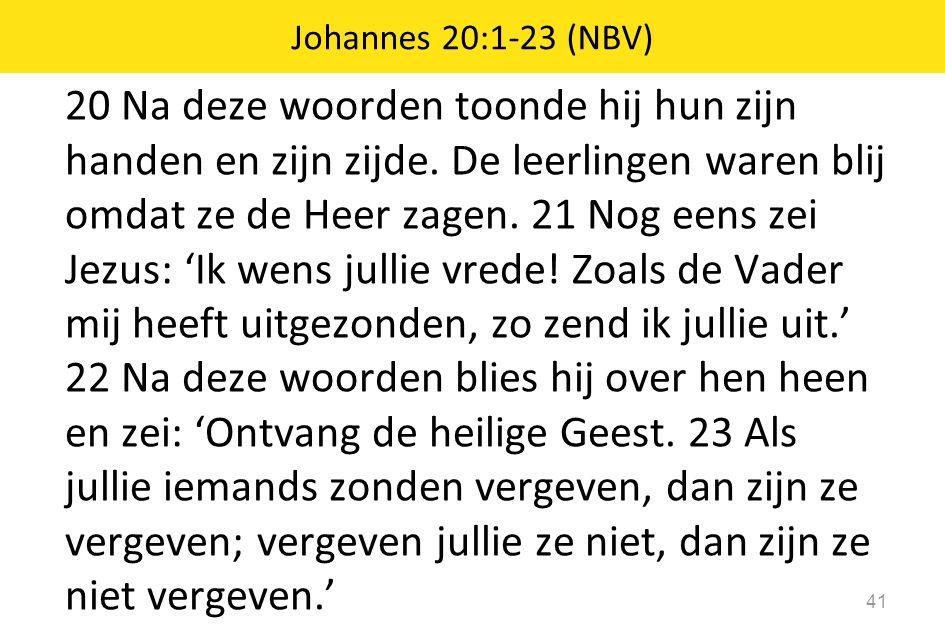 20 Na deze woorden toonde hij hun zijn handen en zijn zijde. De leerlingen waren blij omdat ze de Heer zagen. 21 Nog eens zei Jezus: 'Ik wens jullie v