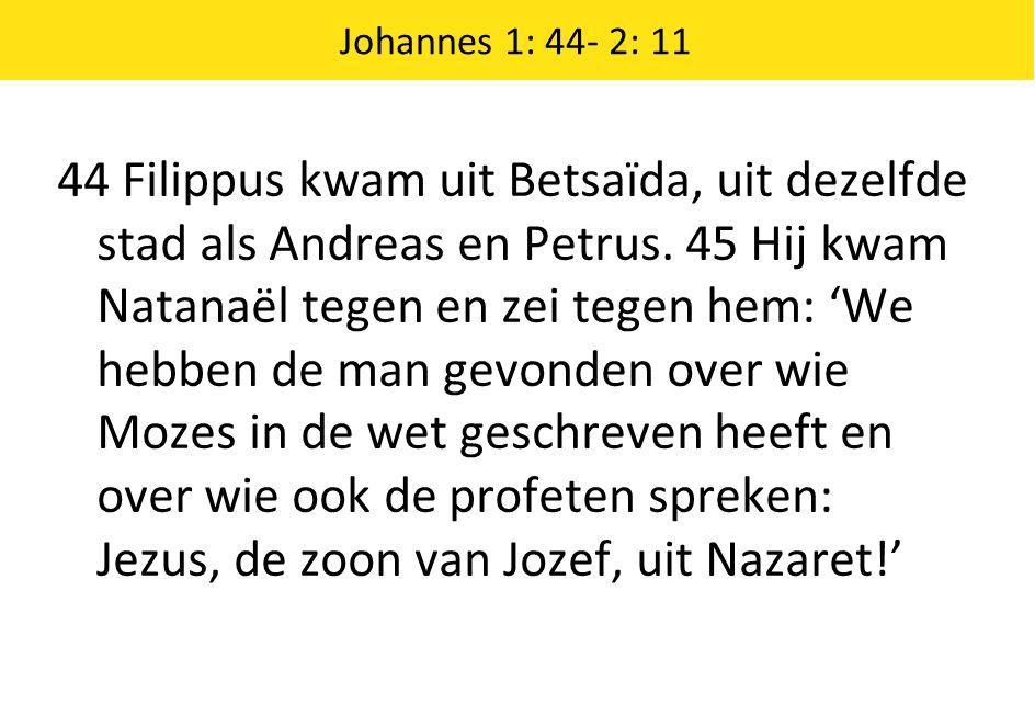 44 Filippus kwam uit Betsaïda, uit dezelfde stad als Andreas en Petrus. 45 Hij kwam Natanaël tegen en zei tegen hem: 'We hebben de man gevonden over w