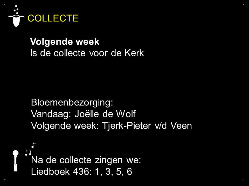 .... COLLECTE Volgende week Is de collecte voor de Kerk Bloemenbezorging: Vandaag: Joëlle de Wolf Volgende week: Tjerk-Pieter v/d Veen Na de collecte