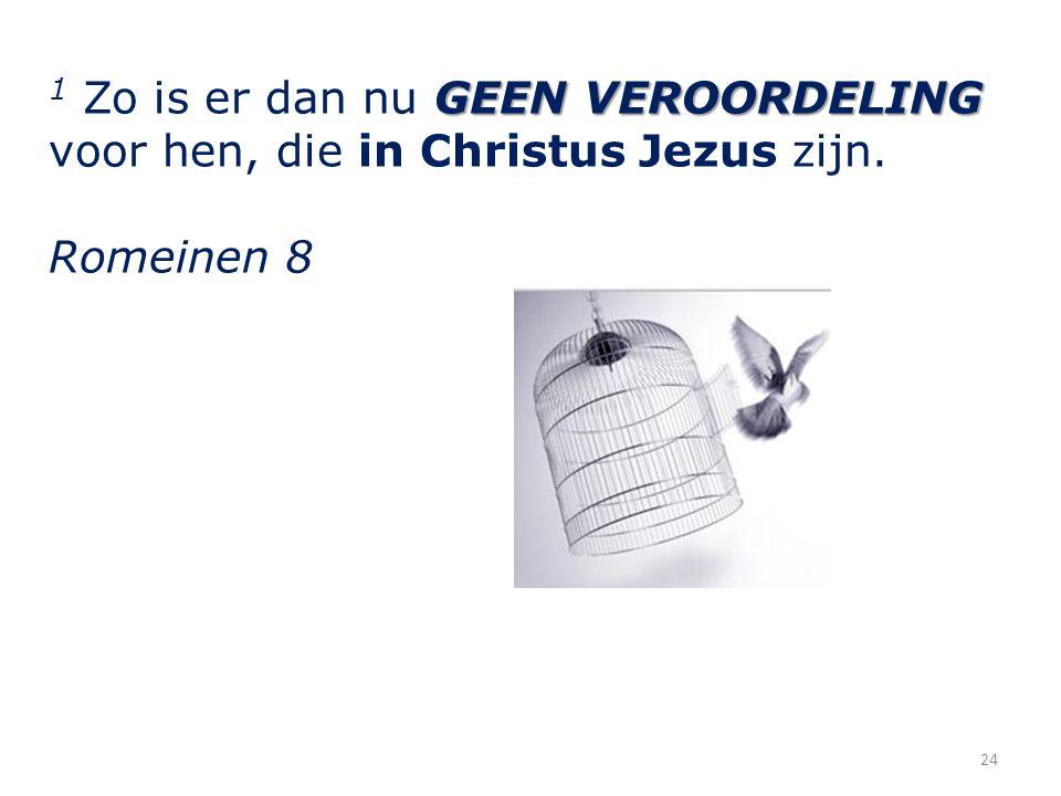 24 GEEN VEROORDELING 1 Zo is er dan nu GEEN VEROORDELING voor hen, die in Christus Jezus zijn.