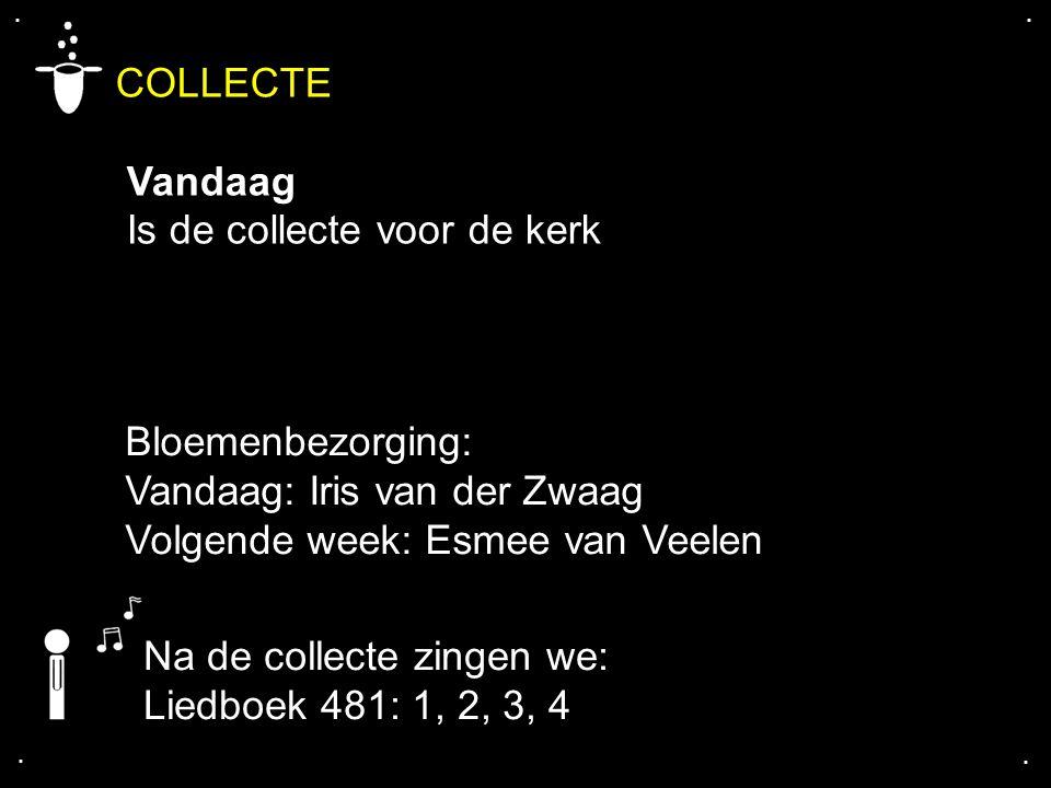 .... COLLECTE Vandaag Is de collecte voor de kerk Na de collecte zingen we: Liedboek 481: 1, 2, 3, 4 Bloemenbezorging: Vandaag: Iris van der Zwaag Vol