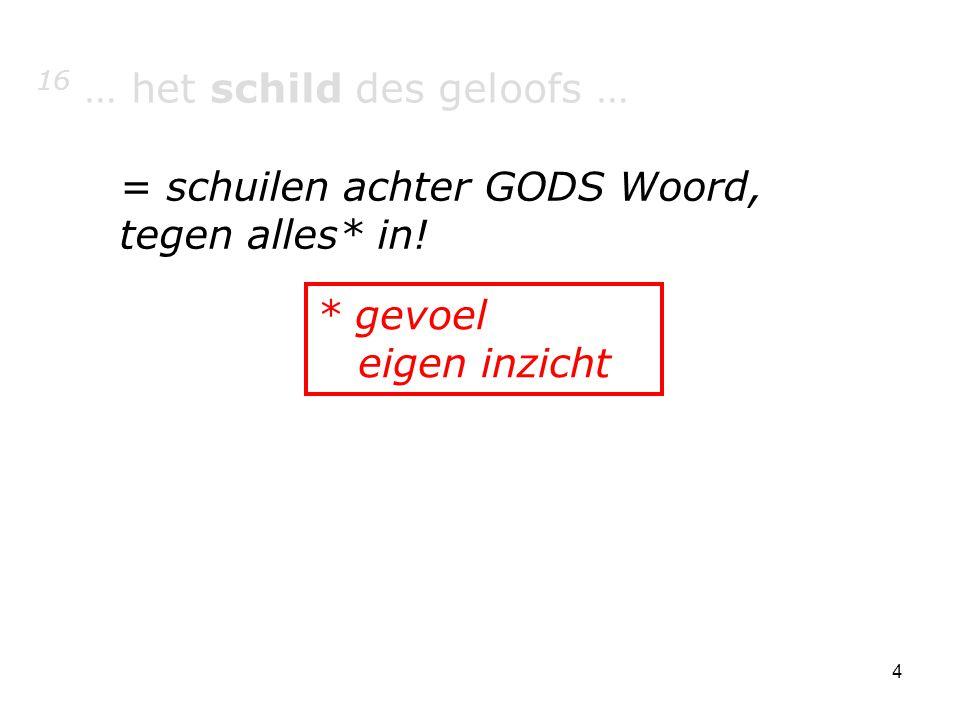 4 16 … het schild des geloofs … = schuilen achter GODS Woord, tegen alles* in! * gevoel eigen inzicht